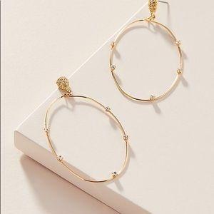 🌿 NWT Anthropologie rhinestone wire hoop earrings